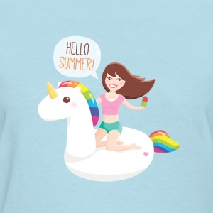 Girl on Unicorn Float T-Shirts - Women's T-Shirt