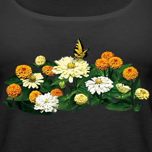 Tiger Swallowtail Butterfly on Zinnias Tanks - Women's Premium Tank Top