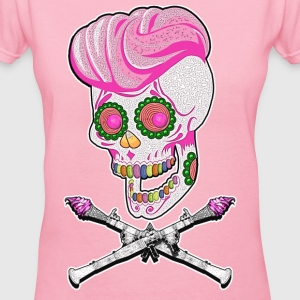Candy Jolly Roger (For Ladies) - Women's V-Neck T-Shirt