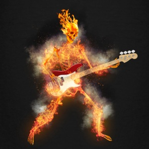 Flaming Skeleton Base Guitarist Kids' Shirts - Kids' Premium T-Shirt