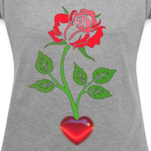 Enchanted Rose with the Heart  Women´s Rolled Sle - Women´s Rolled Sleeve Boxy T-Shirt