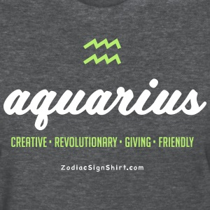 Aquarius Script Zodiac - Women's White, Green and  - Women's T-Shirt