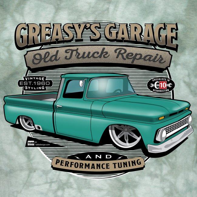 Greasy's Garage PREMIUM ART Tee GREEN