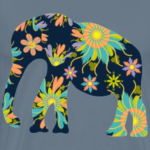 Elephant with flowers - Men's Premium T-Shirt