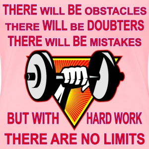 Gym Dumbbell With Hard Work There Are No Limits  - Women's Premium T-Shirt