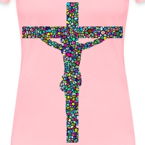 Polyprismatic Tiled Crucifix With Background - Women's Premium T-Shirt