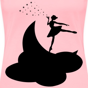 Ballerina On The Moon Silhouette - Women's Premium T-Shirt