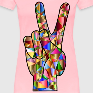 Chromatic Low Poly Peace Hand Sign - Women's Premium T-Shirt