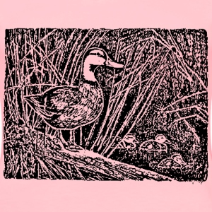 Hen mallard and ducklings - Women's Premium T-Shirt