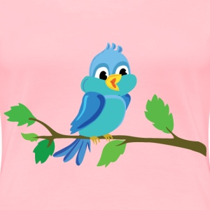 Cute Cartoon Bird Chirping - Women's Premium T-Shirt