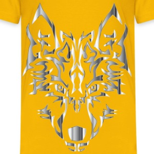 Chrome Symmetric Tribal Wolf No Background - Kids' Premium T-Shirt