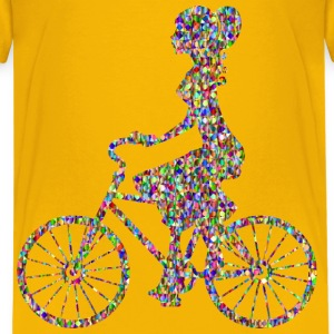 Chromatic Bejeweled Girl On Bike - Kids' Premium T-Shirt
