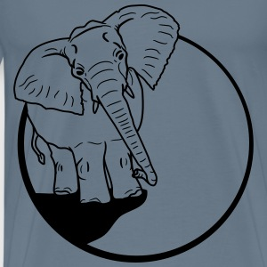 Elephant night moon cliff mountain sun big T-Shirts - Men's Premium T-Shirt