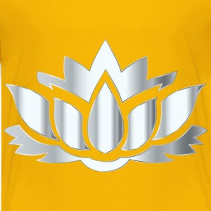 Silver Lotus Flower Silhouette No Background - Kids' Premium T-Shirt
