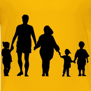 Family Holding Hands Minus Ground Silhouette - Kids' Premium T-Shirt