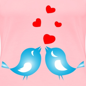 Colored Love Birds With Hearts - Women's Premium T-Shirt