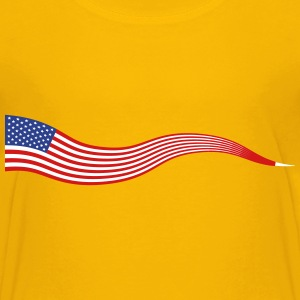 Wavy USA Flag Banner - Kids' Premium T-Shirt