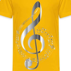 Chrome Musical Notes Typography No Background - Kids' Premium T-Shirt