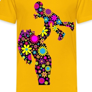 Floral Mother And Son Silhouette 2 - Kids' Premium T-Shirt