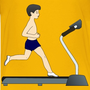 Boy running on treadmill - Kids' Premium T-Shirt