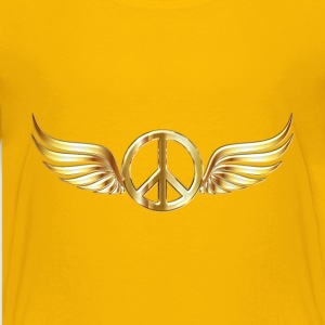 Gold Peace Sign Wings Enhanced 2 No Background - Kids' Premium T-Shirt