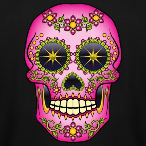 Pink Floral Sugar Skull T-Shirts - Men's Tall T-Shirt
