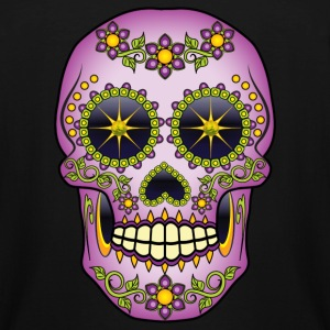 Purple Floral Sugar Skull T-Shirts - Men's Tall T-Shirt