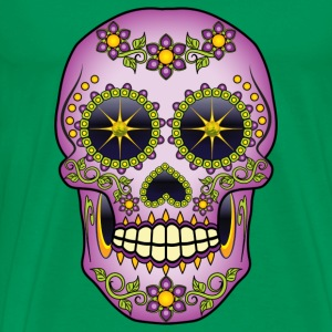 Purple Floral Sugar Skull T-Shirts - Men's Premium T-Shirt