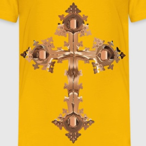 Polished Copper Ornate Cross No Background - Kids' Premium T-Shirt