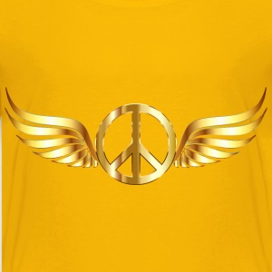 Gold Peace Sign Wings No Background - Kids' Premium T-Shirt