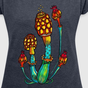 Magic mushrooms, Psychedelic, Magic, Trance, Goa,  - Women´s Roll Cuff T-Shirt