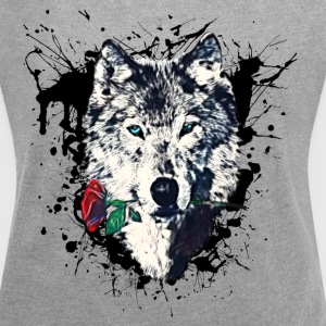 Wolf with Rose, Splatter, Splash, Grunge, Grafitti - Women´s Roll Cuff T-Shirt