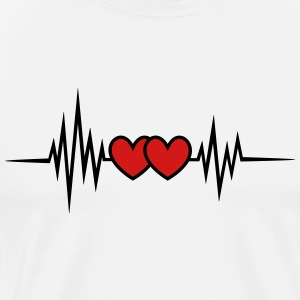 Pulse Heartbeat, Rate, Frequency, Double Heart,  - Men's Premium T-Shirt