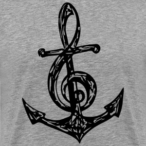 Anchor Music Note, Clef, Sailing, Musician, Bass,  - Men's Premium T-Shirt