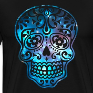 Sugar skull galaxy, space, cosmic, pirate, flowers - Men's Premium T-Shirt