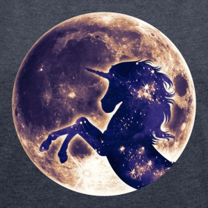Unicorn full moon, galaxy, space, cosmic, horse  - Women´s Roll Cuff T-Shirt