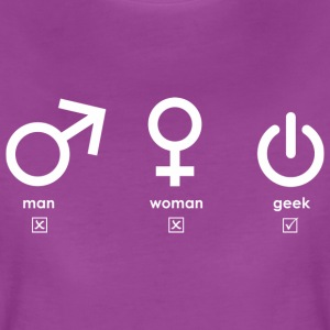 Man, woman, geek (white) T-Shirts - Women's Premium T-Shirt