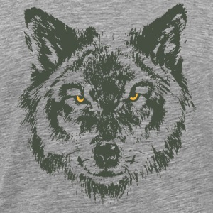 Wolf with yellow eyes - hand-drawn style T-Shirts - Men's Premium T-Shirt