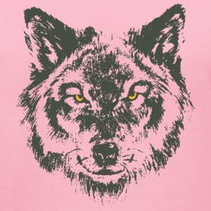 Wolf with yellow eyes - hand-drawn style T-Shirts - Women's V-Neck T-Shirt
