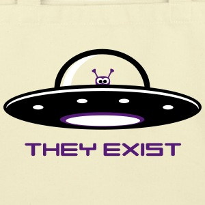 UFO with Alien - They exist Bags & backpacks - Eco-Friendly Cotton Tote