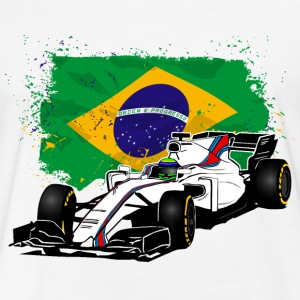 Formula One - Formula 1 - Brazil Flag T-Shirts - Fitted Cotton/Poly T-Shirt by Next Level