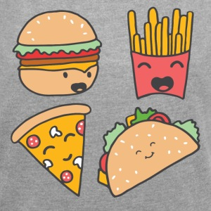 fast food friends - Women´s Roll Cuff T-Shirt
