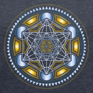 METATRONS CUBE, FLOWER OF LIFE, SPIRITUALITY T-Shi - Women's Roll Cuff T-Shirt