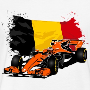 Formula One - Formula 1 - Belgium Flag T-Shirts - Fitted Cotton/Poly T-Shirt by Next Level