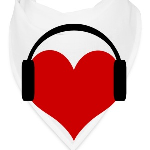 Bandana-Heart Wearing Headphones 100% Cotton Twill - Bandana