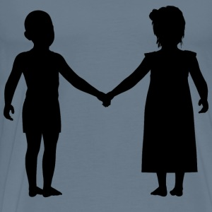 Little Boy And Girl Holding Hands Silhouette - Men's Premium T-Shirt