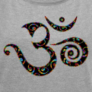 Om, Colors, Buddhism, Sound of Universe, Yoga T-Shirts - Women´s Rolled Sleeve Boxy T-Shirt