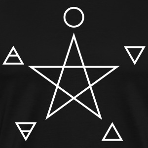Pentagram with elements, spirit, magic symbols,   - Men's Premium T-Shirt