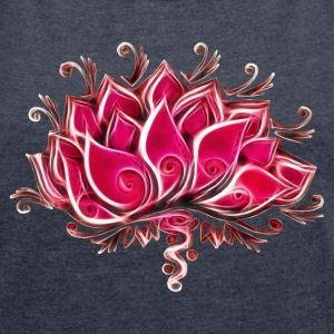Lotus, blossom, flower, yoga, OM, buddhism, spirit T-Shirts - Women's Roll Cuff T-Shirt