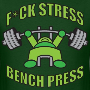 F*CK STRESS, BENCH PRESS Kawaii Powerlifter GREEN T-Shirts - Men's T-Shirt